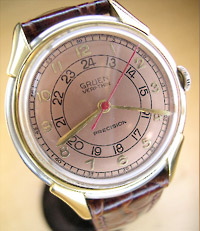 Gruen Precision Veri-thin with a professional pink 24 hour dial refinish