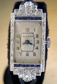 1930's Bulova platinum and diamonds ladies watch