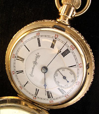 1893 Columbus hunters pocket watch, lever set