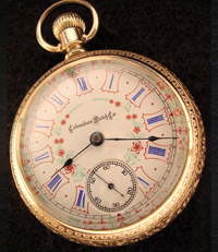 1894 Columbus pocket watch, multi colored dial