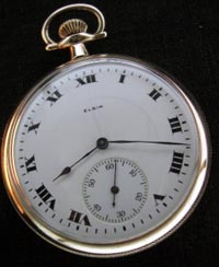 12 size Elgin open face pocket watch bold roman numeral dial