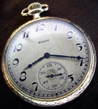 12 size Elgin open face pocket watch, yellow gold filled
