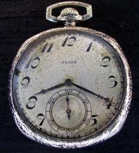 12 size Elgin pocket watch white gold filled