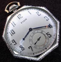12 size octagon Elgin pocket watch, refinished dial