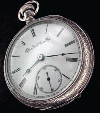 18 size Elgin pocket watch, roman numeral dial