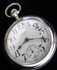 18 size open face Elgin pocket watch, white gold filled case