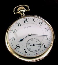 21 jewel Father Time, Elgin open face pocket watch