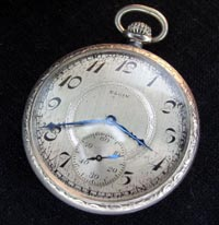 Elgin 12 size open face pocket watch 1920's white gold filled case