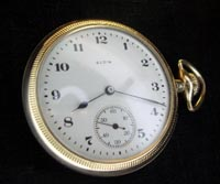 Elgin 16 size open face pocket watch in 14K yellow gold case
