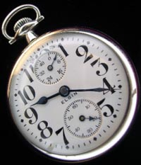 Elgin 21 jewel B.W. Raymond adjusted to 5 positions. Railroad pocket watch with up  down indicator. 1920s