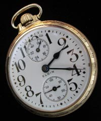 Elgin Father Time up down open face railroad pocket watch 16 size pocket watch.