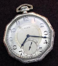 Elgin open face pocket watch, octagon case in white gold filled