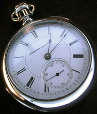 1880s Hampden open face pocket watch stem wind, lever set