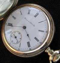 Hampden 15 jewel Wm McKinley model hunters pocket watch
