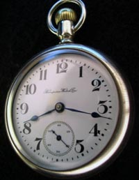 Hampden 18 size 15 jewel open face silvered pocket watch