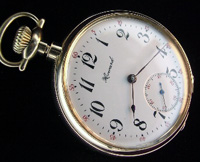 16 size Howard pocket watch open faced in solid gold case