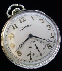 12 size open face dress pocket watch, Illinois Benjamin Franklin model