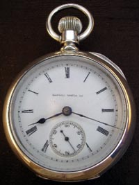 Early Illinois key wind + key set silver cased pocket watch from 1871
