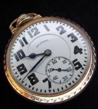 Illinois Bunn Special 60 hour mainspring railroad pocket watch