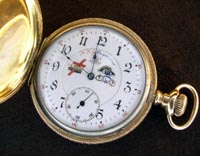 Masonic dial Illinois pocket watch in 14k yellow hunters case 1902