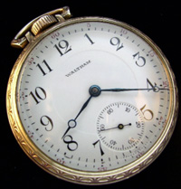 12 size open face Waltham pocket watch 15 jewel arabic dial