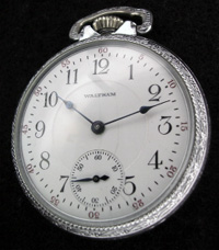 16 size Waltham arabic porcelain dial base metal case
