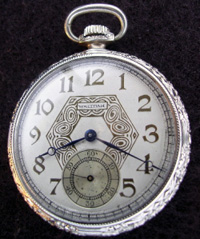 Waltham 12 size deco style open face pocket watch