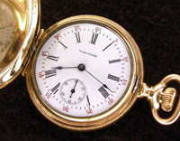 Waltham hunters case 6 size pocket watch yellow gold filled