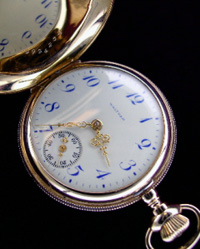 Waltham hunters pocket watch 0 size multi-colored dial filigree hands