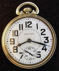Waltham open face 16 size Riverside model railroad pocket watch