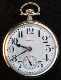 Waltham railroad pocket watch Vanguard model open face