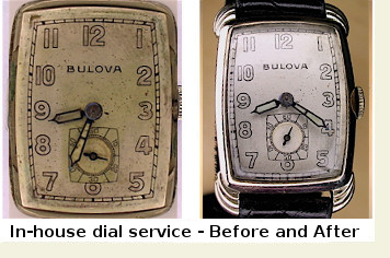 Antique Bulova watch, before and after repair
