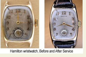 Antique Hamilton watch, before and after repair