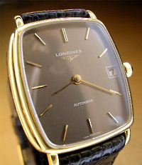 Longines automatic calendar with a professional dial refinish in grey enamel